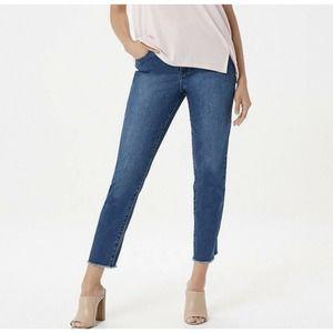 Halston High Waisted Stretch Raw Hem Jeans Size 16